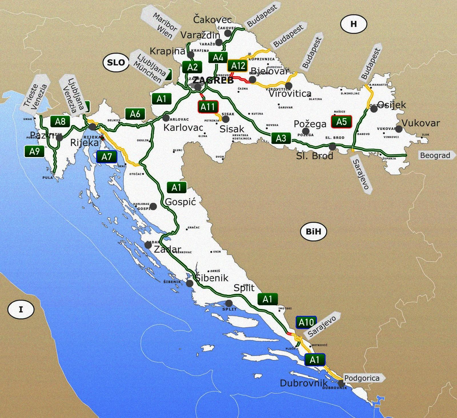 horvátország, horvát tengerpart, horvát térkép, horvátország autópálya térkép, autópálya díjak, horvát, Istria Tours